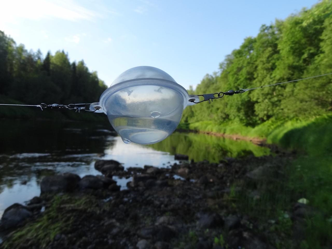 Как прикрепить водоналивной шарик к леске